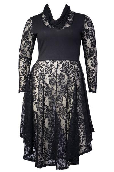 Lange zwarte jurk maat 50
